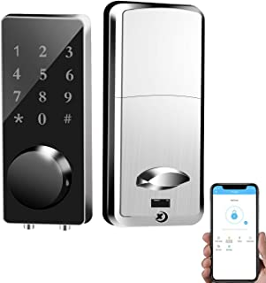 Adust Smart Lock Keyless Door Lock LED Touch Screen Keypad Smart Phone APP Control Mechanical Keys Easy to Install for Home Hotels Apartment Office