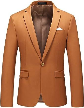 MOGU Chaqueta de Hombre con Solo Botón Blazer de Solapa para Hombre Slim Fit Moda Clasica de Moderno