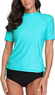 Women Rash Guard Swim Shirt Short Sleeve Swim Top UPF 50 Solid Color