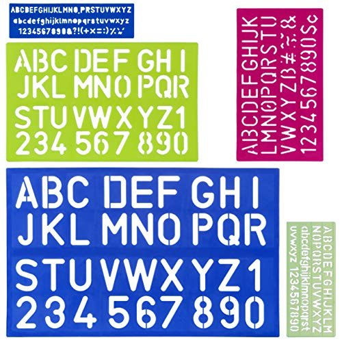 Kesote 5 sjablonen lettersjablonen cijfers, alfabet belettering handwerk kunststof herbruikbaar voor kinderen knutselen…