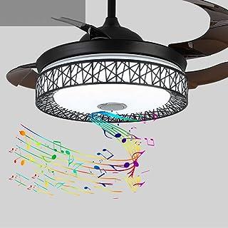 BJClight BJClight Luz de ventilador de techo de música moderna de 42 pulgadas con altavoz Bluetooth, control remoto 3 cambios de color Ventiladores de araña retráctiles de acrílico Accesorios de luz c