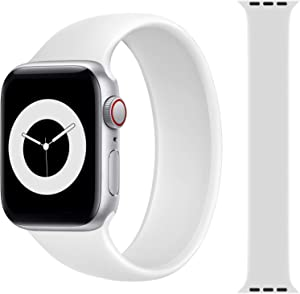 Solo Loop Strap Compatible with Apple Watch Band 38mm 40mm 42mm 44mm, Sport Elastics Silicone Apple Watch Bands Women Men, Replacement Wristband for iWatch Series 6 5 4 3 2 1 SE (White 42S)