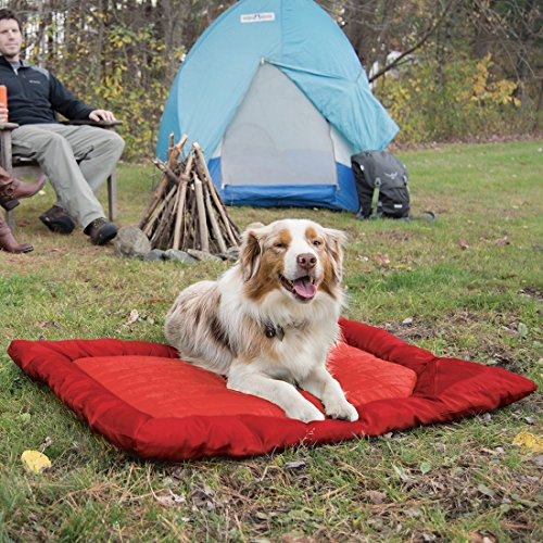 Kurgo Waterproof Dog Bed, Outdoor Bed for Dogs |Portable Bed Roll for Pets, Travel |Hiking, Camping, Wander Loft Dog Bed |Chili Red (Large), Loft Travel Bed, Large