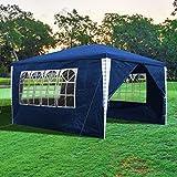 wolketon Carpas Impermeable 3x4m Cenador Gazebo con 4 Laterales Azul, Protección UV 50+, Carpas de Jardin Pabellón para Exteriores, Playa, Fiestas