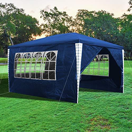 wolketon Pavillon 3x4m Wasserdicht Partyzelt mit 4 Seitenteilen für Garten Party Terrasse Markt Camping als Unterstand Gartenpavillon Hochwertiges Zelt Blau