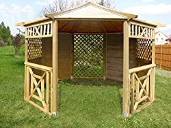 simple wooden gazebo with a roof