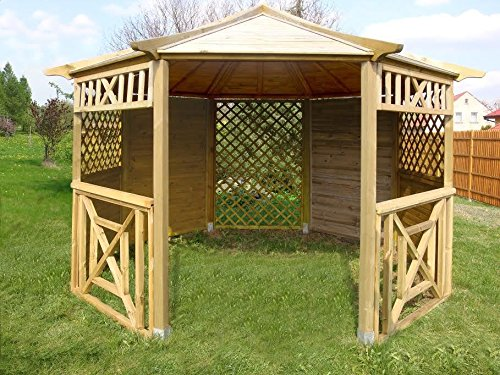 GARDEN WOODEN OCTAGONAL GAZEBO, WITH SHINGLES - CHOICE OF COLOURS! DIAMETER 3.5 m PERFECT FOR HOT TUBS (Gazebo only)