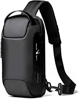 Sling Bag for Men Backpack with USB Anti-Theft Mens Travel Chest Bag Casual Shoulder Bags Security Combination Lock Black