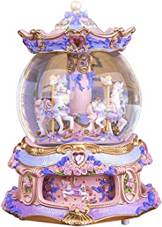 LOHOME Rococo Style Rotate Music Box Luxury Color Change LED Light Luminous Rotating 3-Horse Carousel Horse Crystal Ball Castle Perfect Christmas Birthday Gift Valentine's Day (Purple)