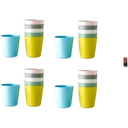 【新色2020年度版】 KALAS キッズ食器カラフルプラスチック コップ まとめ買い 24個セット IKEA イケア KALAS イケア + 梅ミンつ1個(8g)