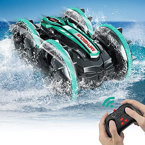 Pristar Coche de Juguete Anfibio 4WD Resistente al Agua para Acrobacias Control Remoto para niños 2.4 GHz Control Remoto 360° Giratorio Coche RC Playa Piscina Juguetes Regalos para niños, 2X baterías