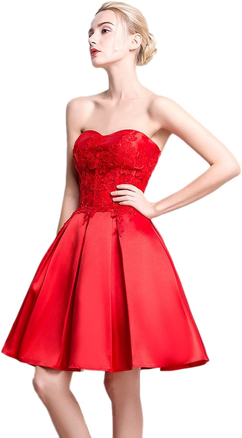 Vimans Women's Elegant Knee Length Red Sweetheart Lace Bridesmaid Dresses