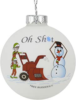 Tree Buddees Oh Sht Funny Snowblower vs Snowman Glass Bulb Ornament