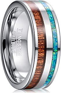 TUNGSTORY 8mm Men's Tungsten Wedding Band Ring Inlaid with Green Opal and Hawaii Koa Wood Flat Edge Comfort Fit Size 7-12