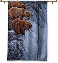 Andrea Sam Tie Up Valance Curtains Africa,Grizzly Bears Fishing in The River Waterfalls Cascade in Alaska Nature Camp View,Brown White,48