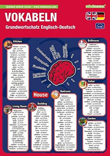 mindmemo Lernfolder - Grundwortschatz Englisch / Deutsch - 1100 Vokabeln lernen leicht gemacht Lernhilfe Zusammenfassung PremiumEdition foliert DIN A4 6 Seiten plus Abhefter