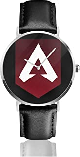 Unisex Business Casual Apex Legends Banner Logo Watches Quartz Leather Watch with Black Leather Band for Men Women Young Collection Gift
