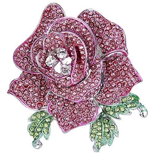 EVER FAITH Broches Finas Mujer Serie de Flor - Rosa Grande con Hojas para Regalo Boda Fiesta Rosa