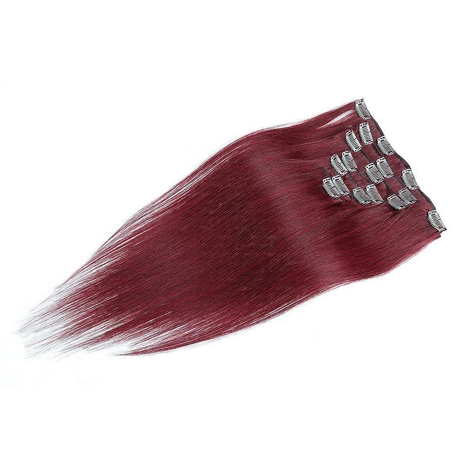 滝安西砂のHOHYLLYA 100%人毛エクステンション20インチフルヘッドクリップ(#BURGワインレッド、20インチ、70g)ロールプレイングウィッグレディースナチュラルウィッグ (色 : #BURG wine red)