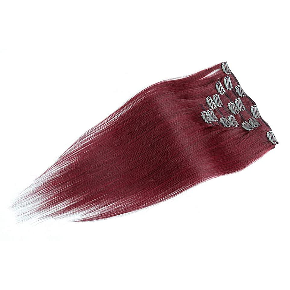 周波数緊張暖かさHOHYLLYA 100%人毛エクステンション20インチフルヘッドクリップ(#BURGワインレッド、20インチ、70g)ロールプレイングウィッグレディースナチュラルウィッグ (色 : #BURG wine red)