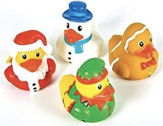 "F&J Dozen (12) Christmas 2"" Rubber Duckies - Party Favors Holiday Decor Stocking Stuffers - Snowman Santa Gingerbread Ducks Ducky"