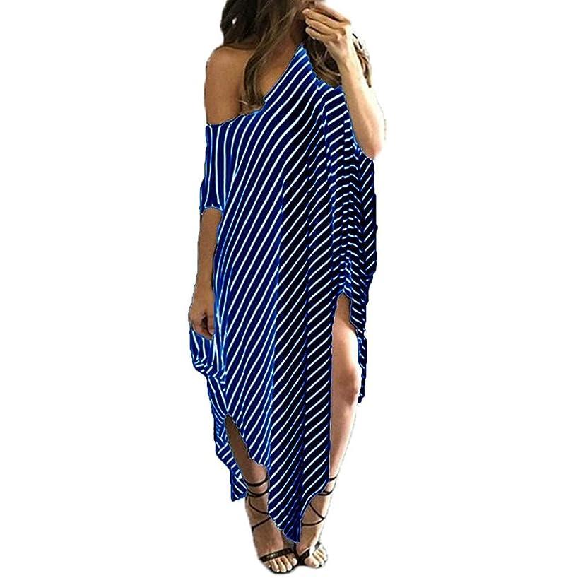 Women Bat-Wing Sleeve Striped Lrregular Dress Casual Loose Round Neck Beach Dresses Under 5 Dollars