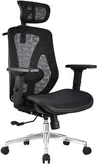 Sillas de escritorio de oficina Silla de oficina ergonómica Silla de trabajo de trabajo pesado de malla con reposacabezas 3D ajustable y soporte lumbar acolchado, función de inclinación y giro de 36