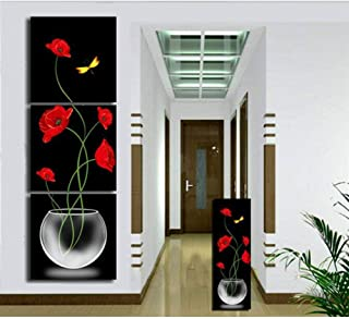 Picture Printing On Canvas Triptych FYSKJDG, Red Flower Yellow Butterfly Vases Decoratives Oil Painting On Canvas 3 Piece ...