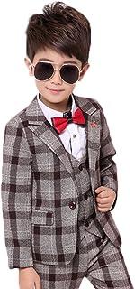 topmodelss 子供スーツ チェック柄 ジャケット ベスト ズボン3点セット 男の子スーツ フォーマル 入学式 卒業式 発表会 結婚式