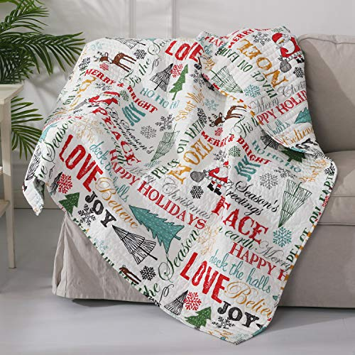Levtex - Santa Claus Lane - Quilted Throw - 50x60in. - Christmas Script - Red, Teal, Yellow, Green, Black and White - Reversible