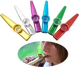 Techson Metal Kazoo Set, 6 Different Color Aluminium Alloy Kazoo, Harmonica Musical Accompaniment for Guitar, Ukulele, Violin, Piano Keyboard (6 Pack)
