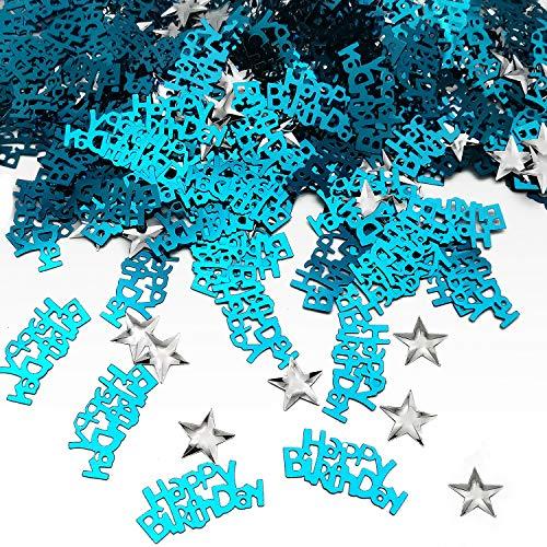 iZoeL Happy Birthday Geburtstag Konfetti (240pcs) Sterne Konfetti (350pcs Silber) Tisch Deko