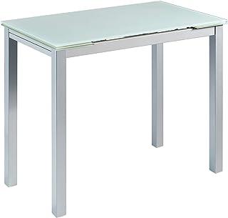 MOMMA HOME Mesa de Cocina Extensible - Modelo CALCUTA - Color Blanco/Plata - Material Cristal Templa