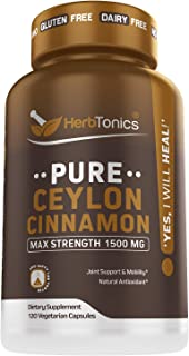Organic Ceylon Cinnamon Capsules 1500 mg 120 Capsules, True Ceylon Cinnamon, Blood Sugar Levels Support Supplement - Sri Lanka Cinnamon Ceylon Powder Joint Support