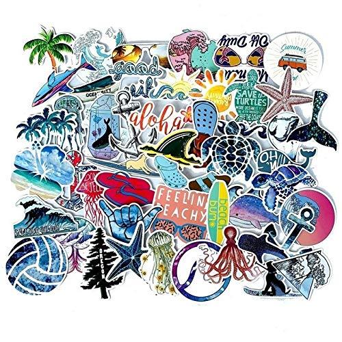 LSPLSP Dibujos animados verano surf playa protector solar móvil graffiti maleta scooter impermeable pegatinas juguete decorativo al por mayor 50 unids