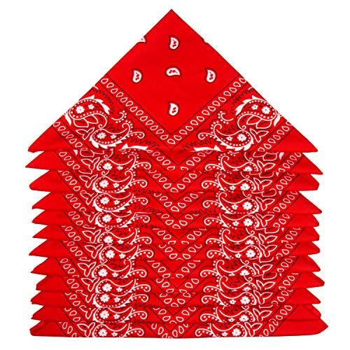 ZWOOS Bandanas Paisley, 12 Piezas Foulards, Pañuelos para el cuello para Hombre y Mujer (Rojo)