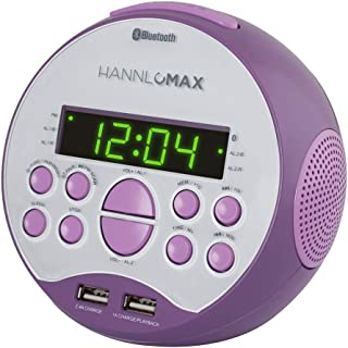 "HANNLOMAX HX-129CR Alarm Clock Radio. PLL FM Radio, 0.6"" Green LED Display, Bluetooth, USB Ports for 2.4A & 1A Charging/MP..."