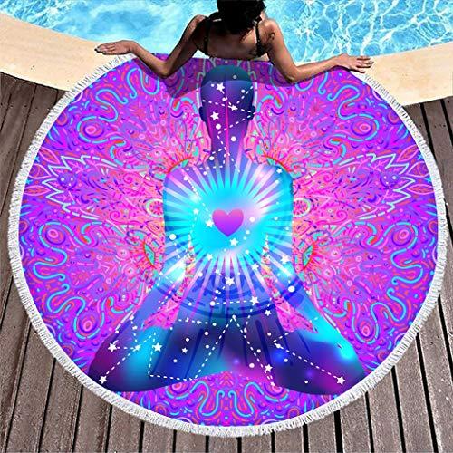 WT-DDJJK Serviette de Plage, Serviette de Plage Ronde Couverture Yoga Douche épaisse Serviette de Corps Super Doux Fille Enfants Adolescent Adulte Voyageur Blanc
