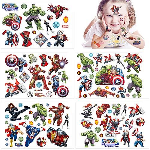 Qemsele Temporäre Tattoo Set Kinder, 200+ Pcs 10 Sheet Tattoos Aufkleber Sticker Wasserdicht Klebe-Tattoos Frozen Superheld Für Geschenktüten Kindergeburtstag Mitgebsel Mädchen Jungen (Superheld)