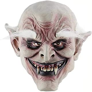 WXYXG Halloween Long Hair Face Mask Horror Scary Latex Headband Hat Party Performance Props White Hair Old Demon