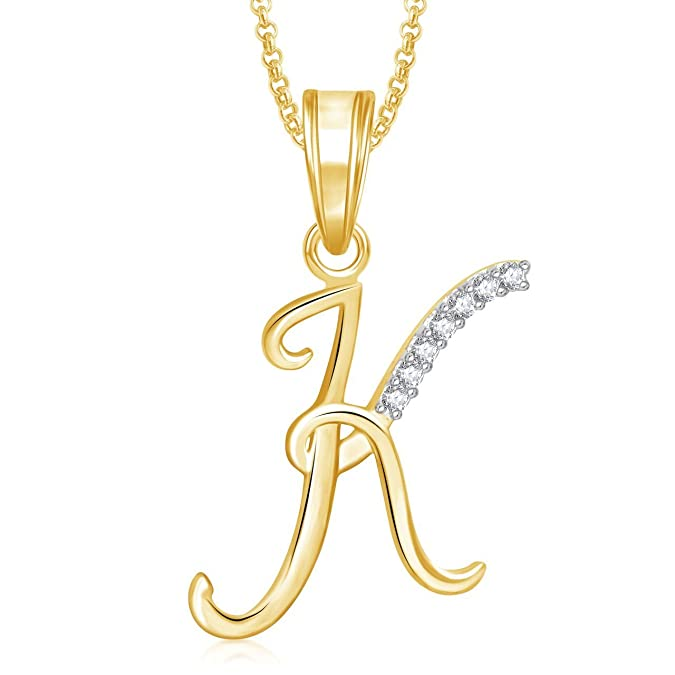 MEENAZ Gold Plated K' Letter Heart Pendant Pendant for Unisex