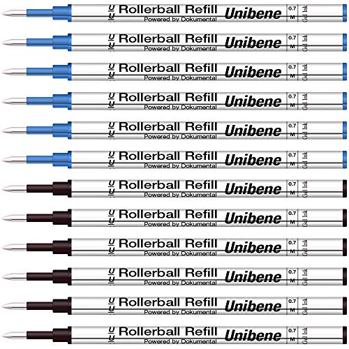 Unibene Gel Ink Rollerball Refills 12 Pack, 0.7mm Medium Point - 6 Blue&6 Black, Standard Rolling Ball Refills Fit Most Ordinary Rollerball Pen, Waterman Pilot Pentel Compatible Cartridges