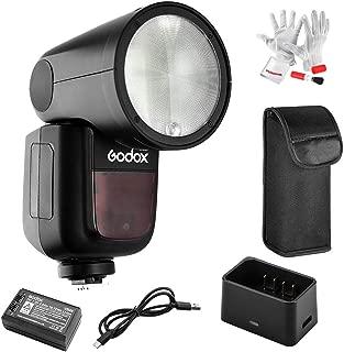 【Godox正規代理&技適マーク】Godox V1-S フラッシュストロボ 76Ws 2.4G TTLラウンドヘッドフラッシュスピードライト 1/8000 HSS 480フルパワーショット10レベルLEDモデリングランプ Sonyカメラ対応