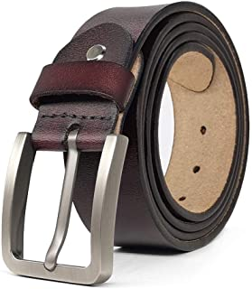 "JingHao Belts for Men Genuine Leather Belt for Jeans Dress Black Brown Regular Big and Tall Size 28""-64"""