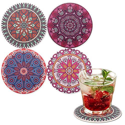 LAZARAH saugfähige Design Untersetzer für Gläser und Tassen Keramik, Korkboden, Boho, Geschenkidee, Gastgeschenk im Mandala Stil, Bar- und Cocktailzubehör