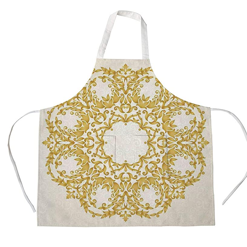 iPrint Cotton Linen Apron,Two Side Pocket,Victorian Decor,Traditional Gold Floral Round Circle with Baroque Elements Turkish Ottoman Style Art,Cream,for Cooking Baking Gardening