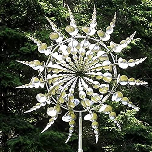 Unique and Magical Metal Windmill - Sculptures Move with The Wind, Wind Powered Kinetic Sculptures, Lawn Wind Spinners with Metal Garden Stake for Outdoor Wind Catcher Yard Patio Garden Decor (A)
