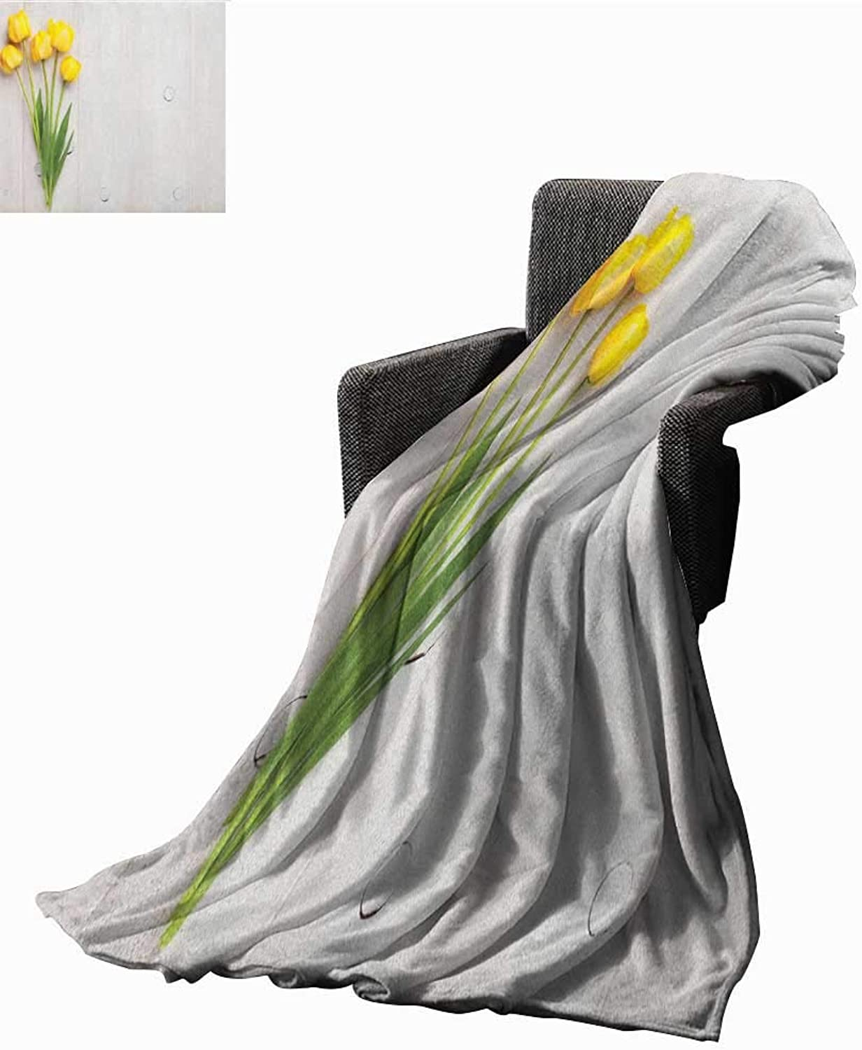 WilliamsDecor Bed or Couch 60  x 35 Yellow Lightweight Blanket colorful Tulips on a Rustic White Wooden Yellow Board with Spring Theme Print Summer Quilt Comforter Yellow White Lime Green
