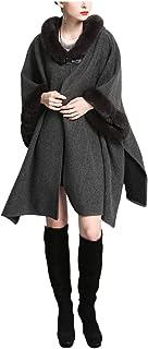 Gihuo Women's Batwing Faux Fur Hooded Cloak Poncho Cape Sweater