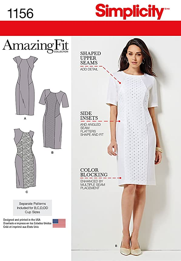 Simplicity Pattern 1156 Women's' Amazing Fit Collection Dress with Variations Sizes: BB(20W-28W)